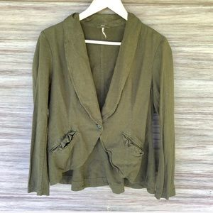 Free People linen one button pocket thin jacket